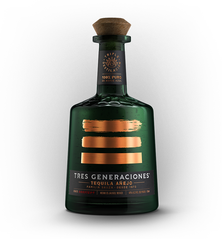 A bottle of Tres Generaciones' triple distilled Añejo Tequila.