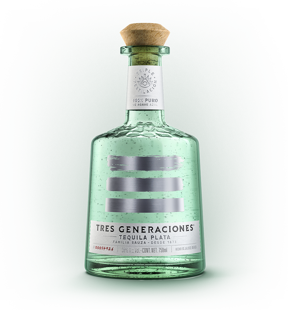 A bottle of Tres Generaciones' triple distilled Plata Tequila.