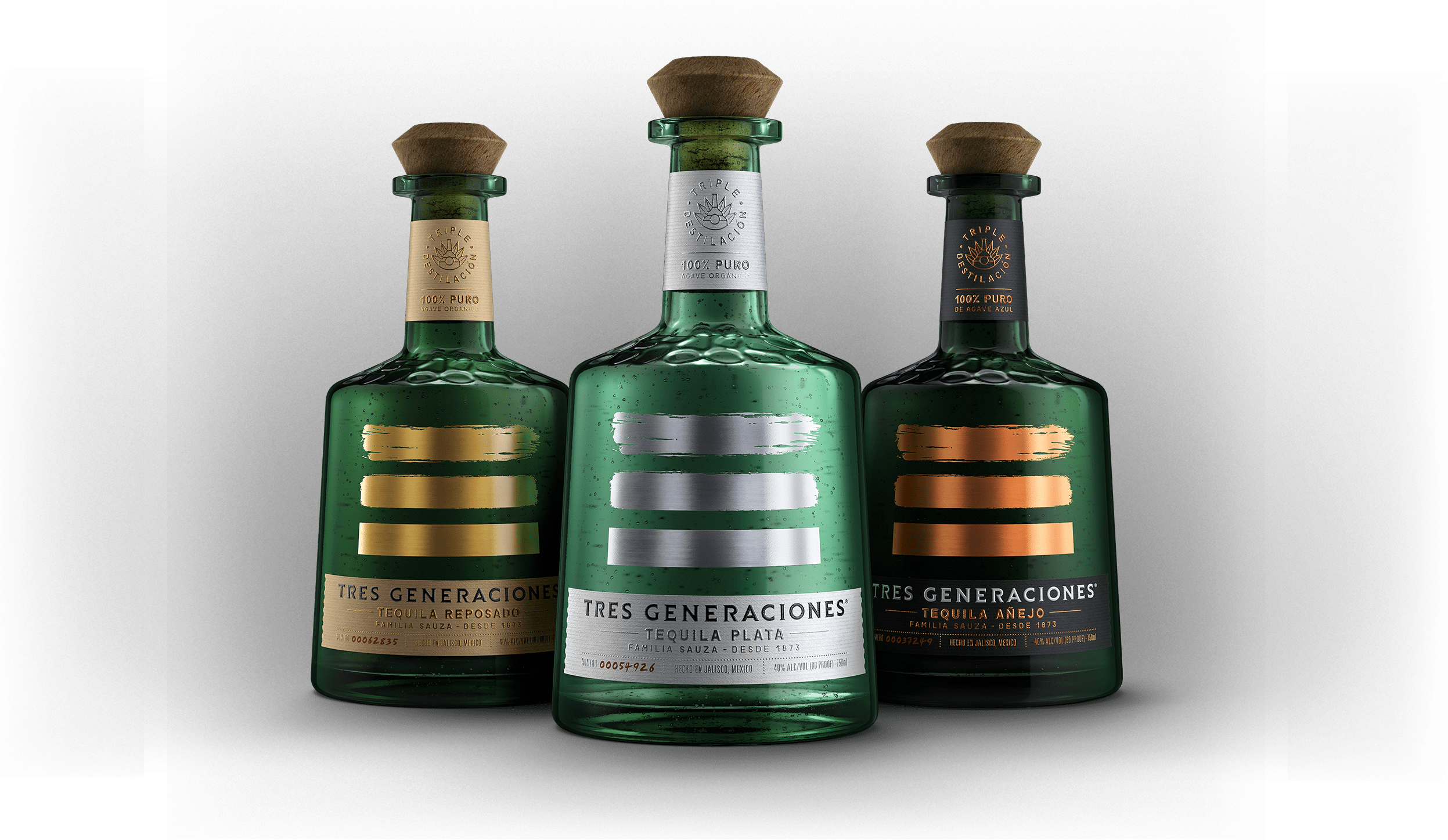 Three bottles of Tres Generaciones tequila lined up, including Blanco tequila, Reposado tequila, and Anejo tequila.